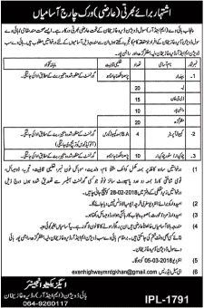 Jobs In Punjab Highway Civil Division Lahore 2018 for 79 Posts