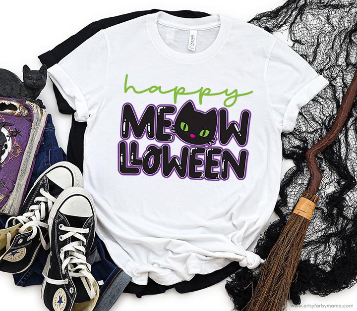 Happy Meow-lloween Shirt + Free Cut File