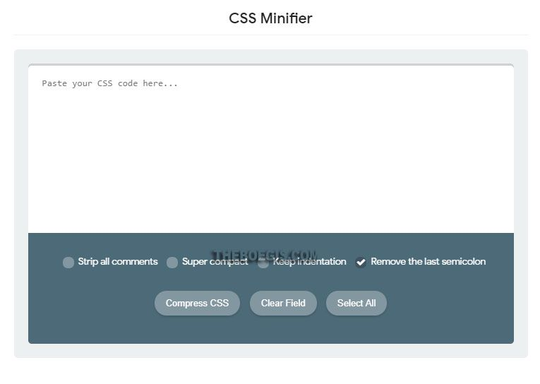 Here's How to Install the CSS Minifier Tool on Blogger Static Pages