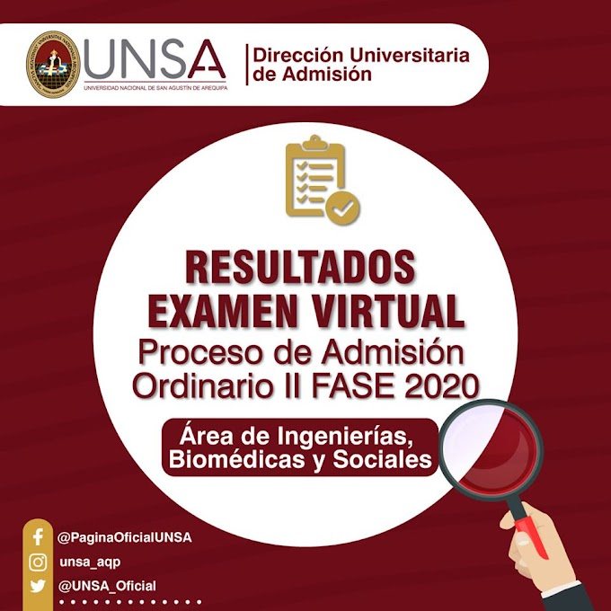 Resultados Examen Virtual, II Fase UNSA 2020