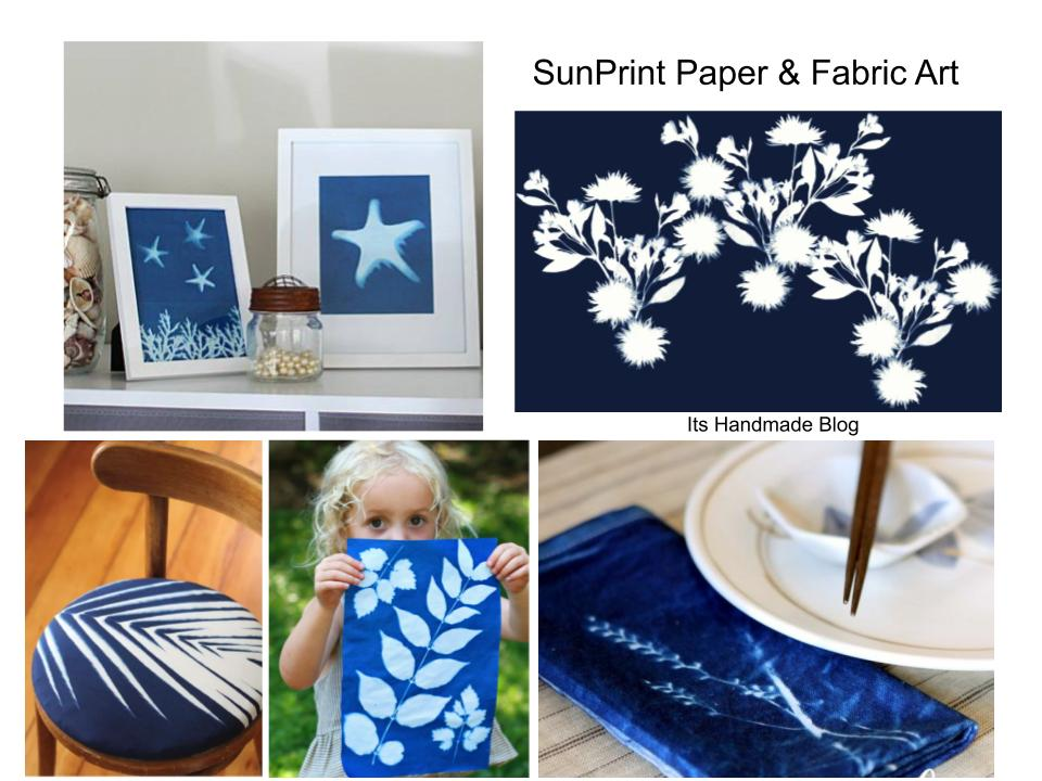sunprint diy and tutorials for paper and fabric art