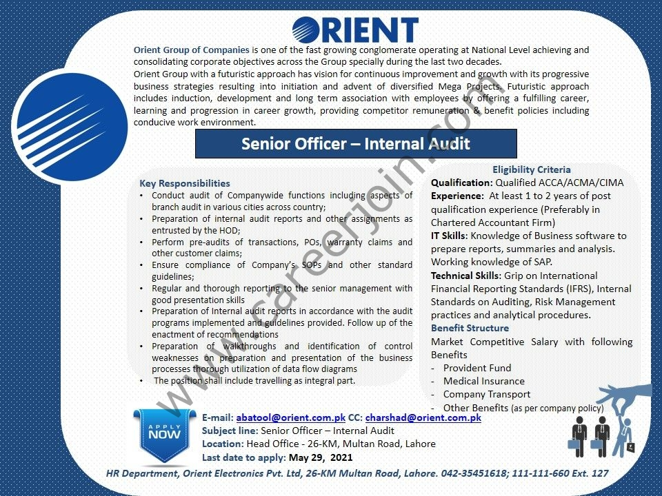 Orient Group of Companies Jobs 2021 in Pakistan