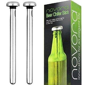 Novora Beer Chiller Sticks, Set of 2 - Stainless Steel Coolers for Bottles