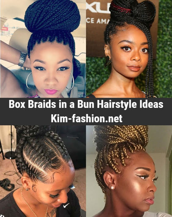 Box Braids in a Bun Ideas