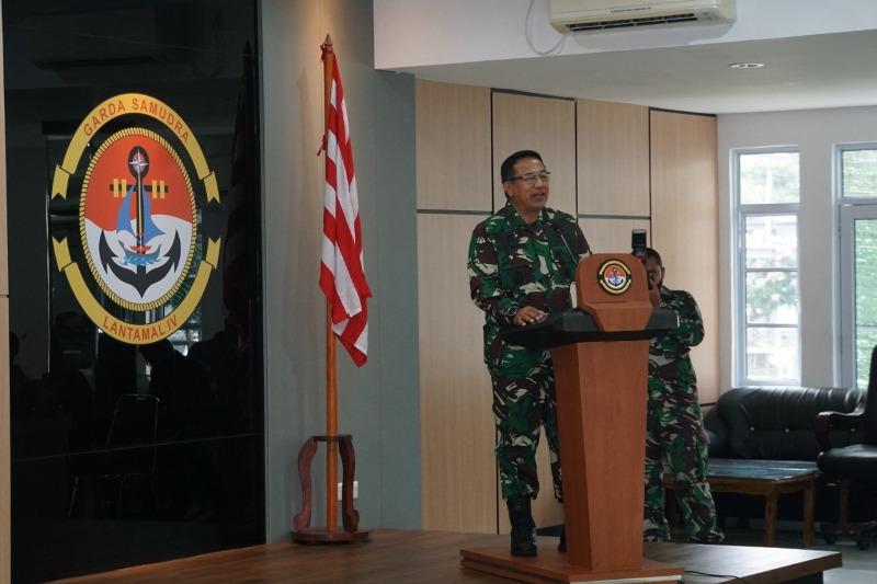 Danlantamal IV Terima Kunker Sahli Panglima TNI Bidang Hubungan Internasional