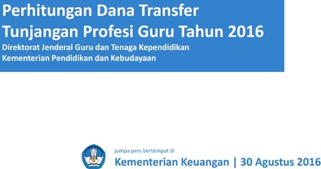 Perhitungan Dana Transfer Tunjangan Profesi Guru (TPG) Tahun 2016
