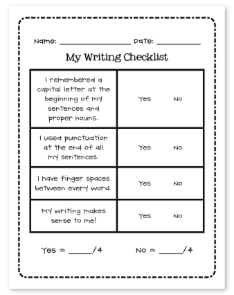 the teacher wife: writing checklist {for students}