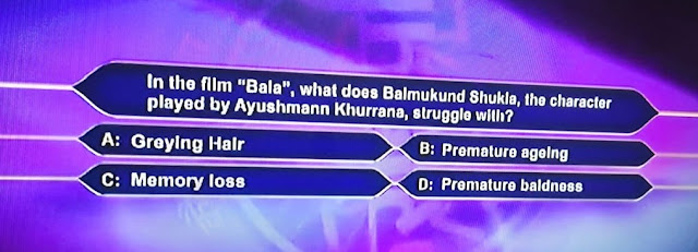 """KBC Registration 2020 Today: in the film """"Bala"""", what does Balmukund shukla, the character played by Ayushmann Khurrana, struggle with?"""