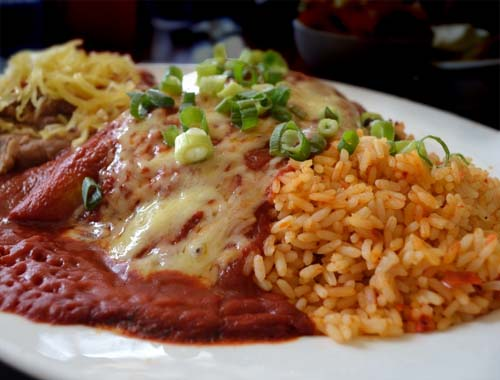 Tasty #Chicken_Enchiladas with Rice and Beans. Click For Enchilada Recipe