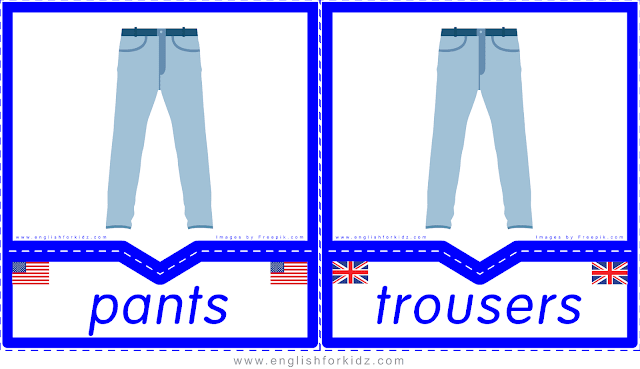 Pants vs. trousers - English clothes and accessories flashcards for ESL students