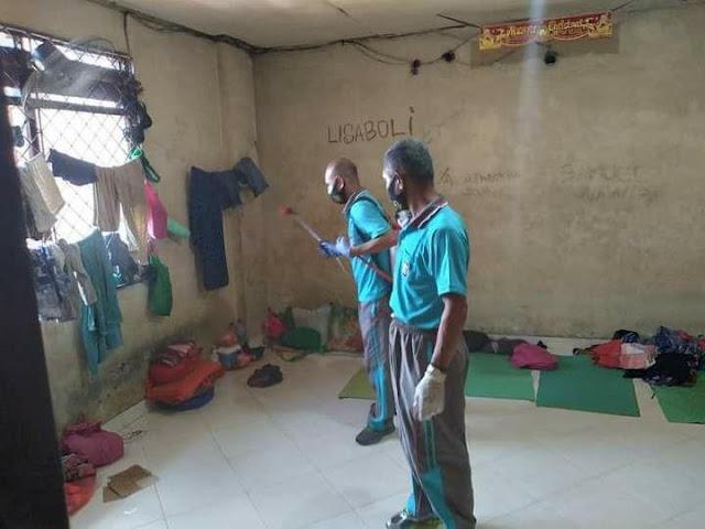 Satuan Tahti Polresta Jayapura Lakukan Penyemprotan Disinfektan