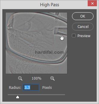 atur radius high pass