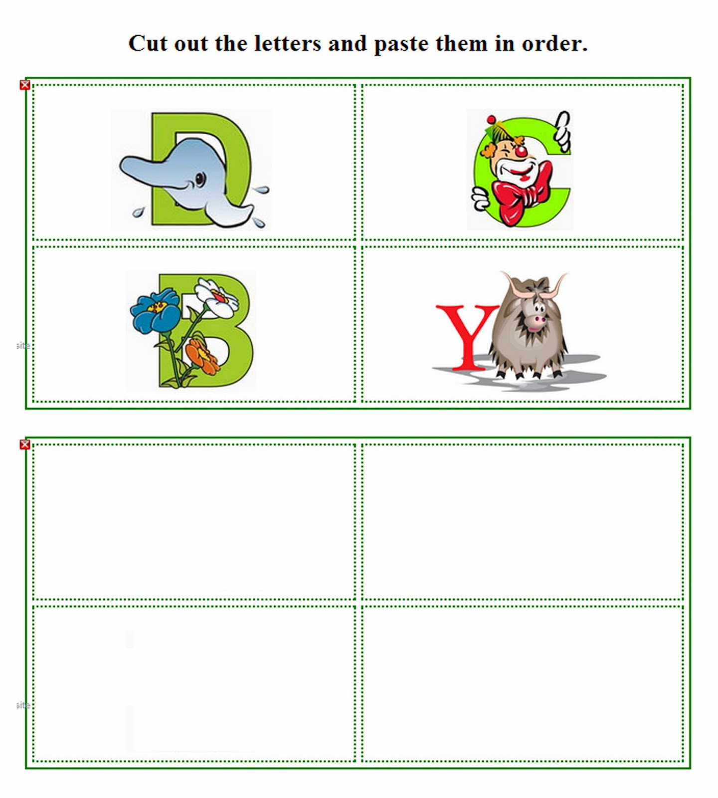 Preschool Cut And Paste Letters Worksheets