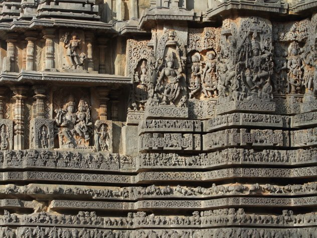 Stunning sculptures all over Hoysaleswara Temple, Halebid