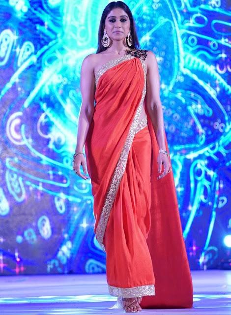 South Actress Regina Cassandra Hot Red Saree Fashion Show Photos