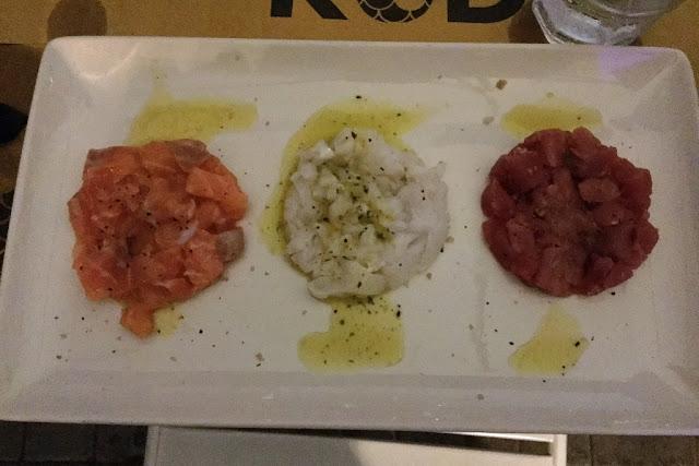 Restaurant Crudo trio of tartar