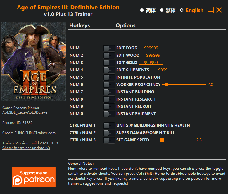 Age Of Empires 3: Definitive Edition: Trainer (+13) [1.0]