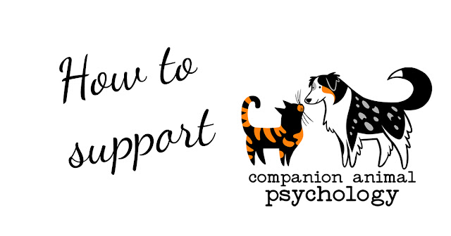How to support Companion Animal Psychology. Image includes the logo with a tortoiseshell cat greeting an Australian Shepherd dog.