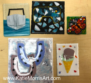 Finished fused glass tiles