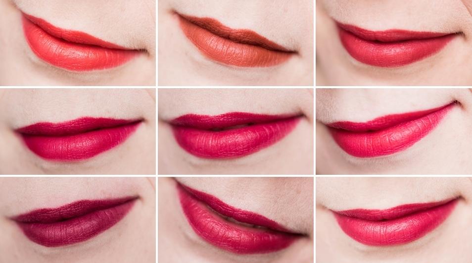szminka Avon True Color Red -  swatche 9 kolorów na ustach