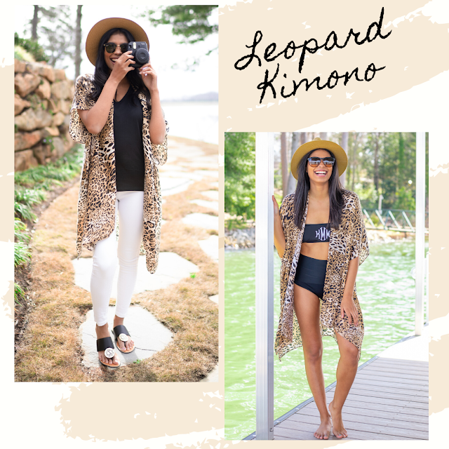 Leopard kimono outfit for the beach or brunch