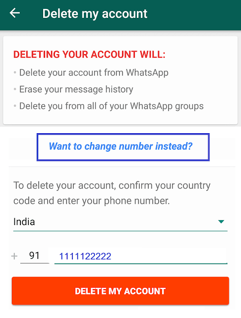 you want to migrate your number to another Whatsapp number