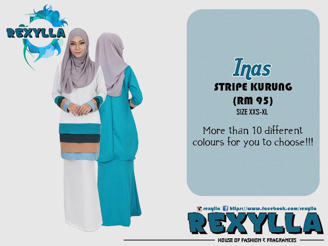 rexylla, stripe kurung, modern kurung, stripe modern kurung, inas collection