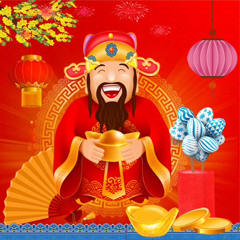 Chinese New Year greeting card design with Chinese God of Wealth and gold ingots