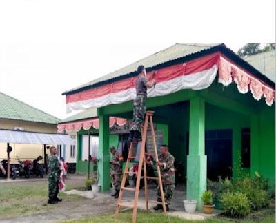 Jelang HUT Ke 76 RI, Koramil Jajaran Kodim 0101 Hiasi Markas Dengan Bendera Dan Umbul-Umbul