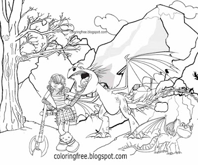 Printable train your dragon coloring for children cartoon Viking warrior pictures illustration ideas