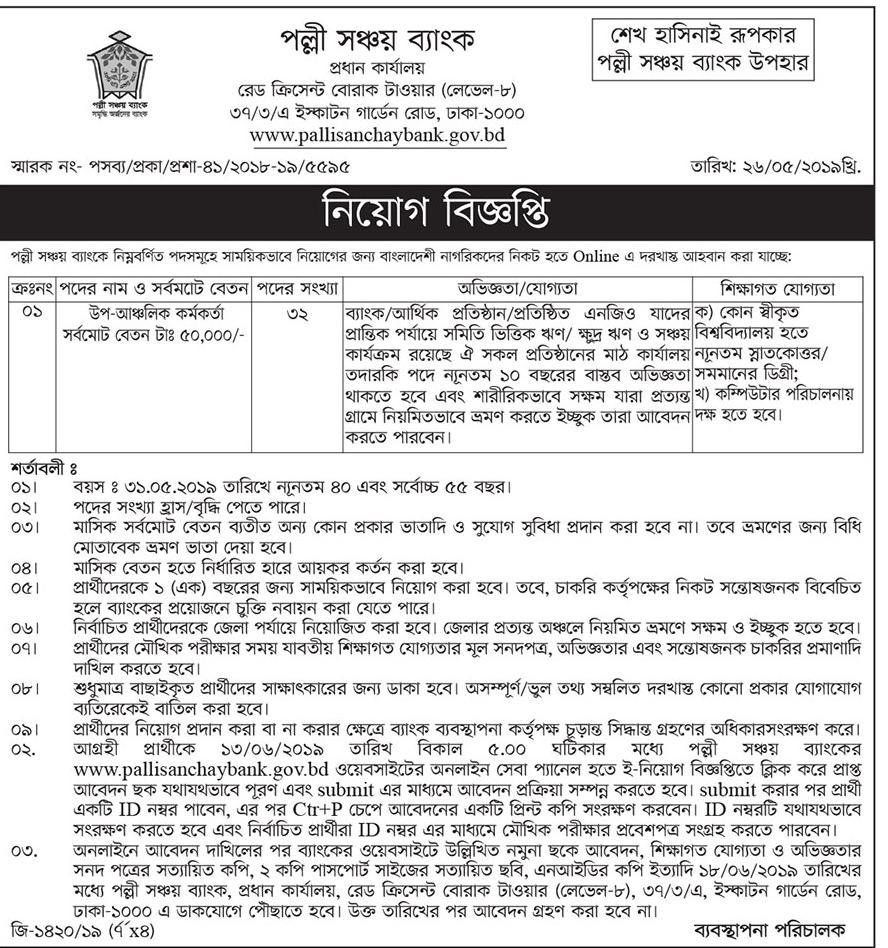 Palli Sanchay Bank Job Circular 2019  Bdjobss