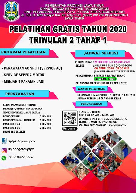 Pendaftaran Pelatihan Gratis UPTK Bojonegoro Tahun 2020 Triwulan 2 Tahap 1