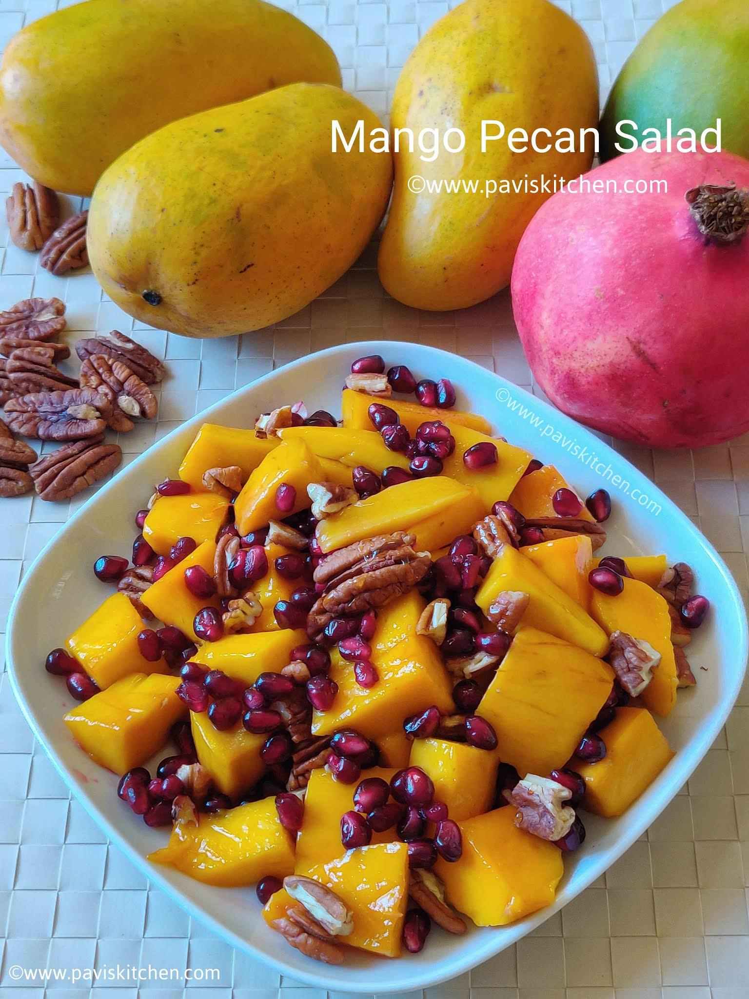 Mango salad recipe | Indian mango fruit salad | mango pecan salad | mango pomegranate fruit salad