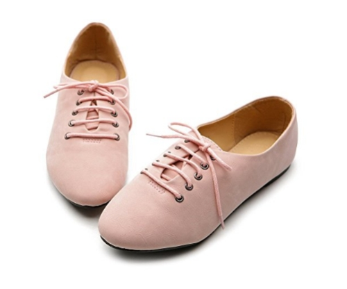 Women's pink oxford ballet shoes