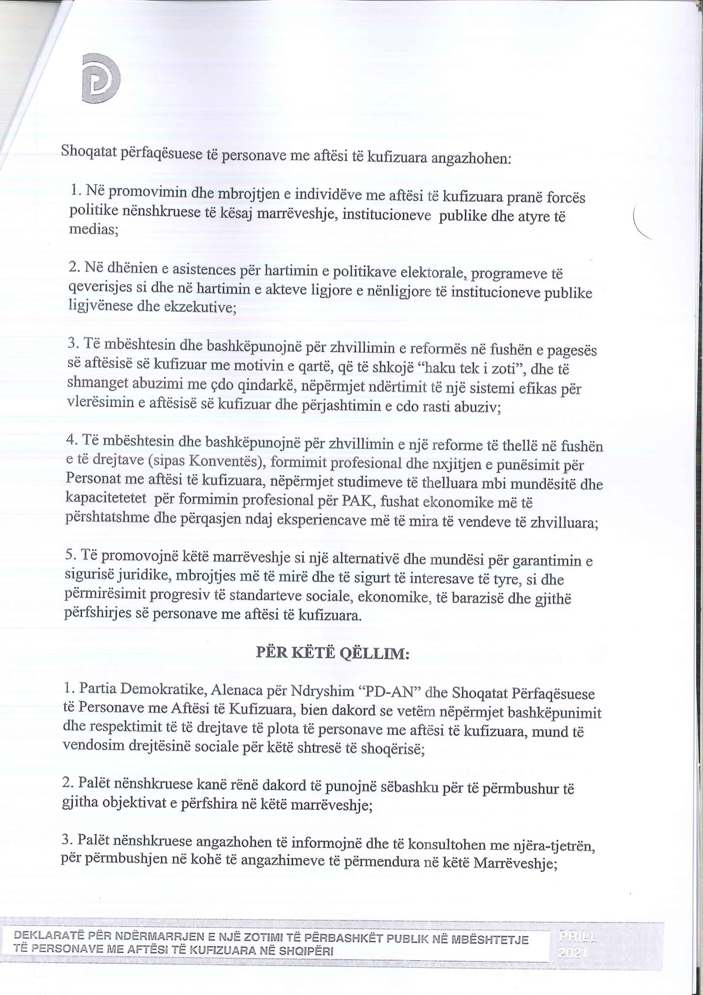 Kopje origjinale e marrëveshjes e skanuar faqja 6