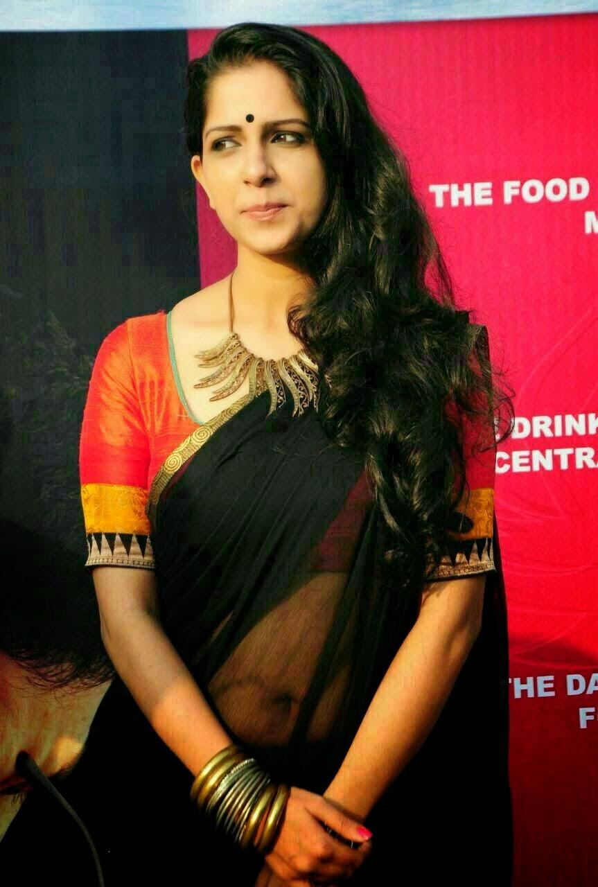 Aparna Nair In Transparent Black Saree Spicy Photos ...