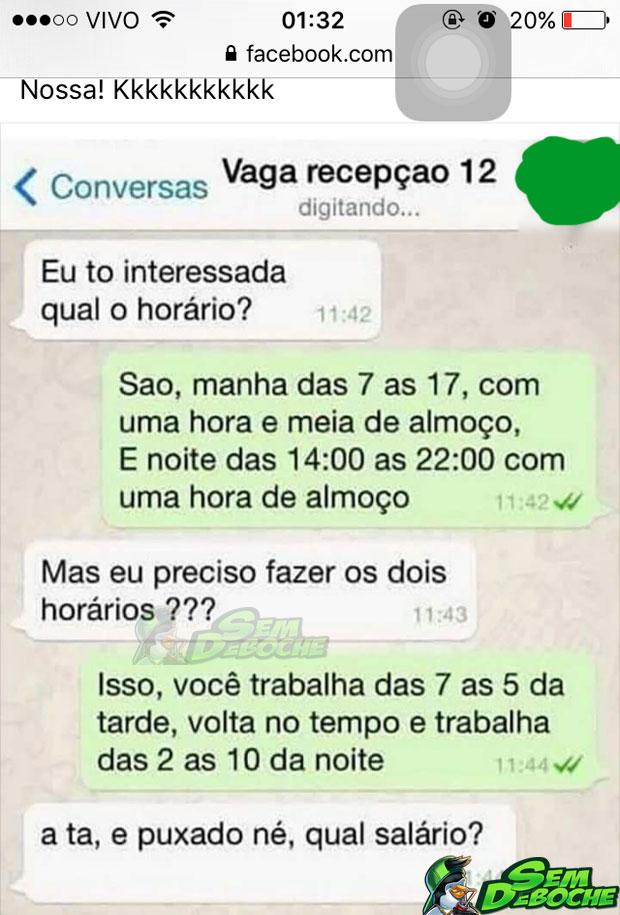 QUANDO A PESSOA PRECISA MUITO DO TRABALHO