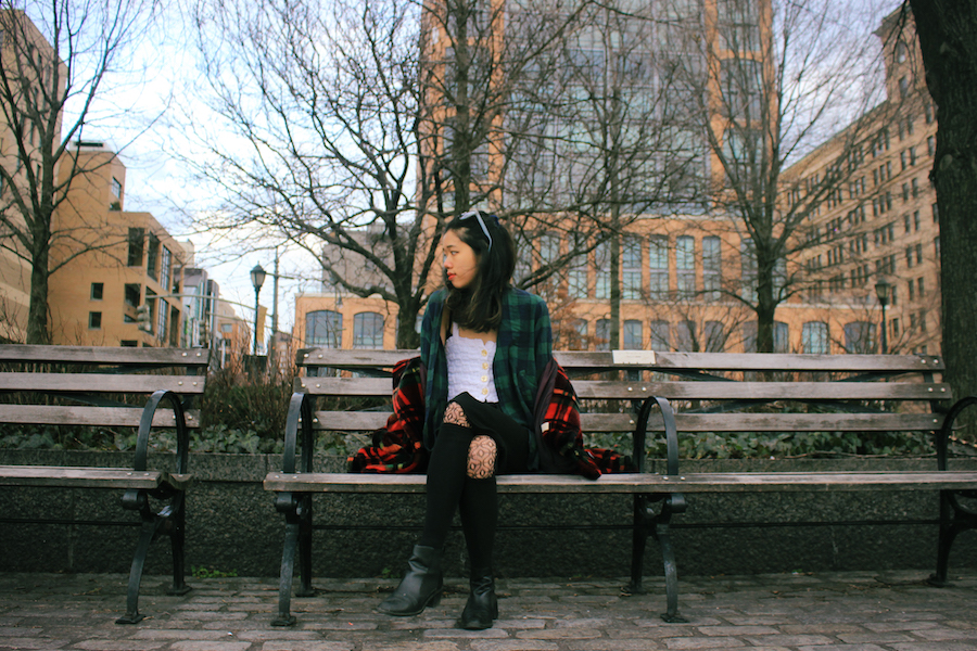 Side angle on bench sitting NYC chelsea winter ootd