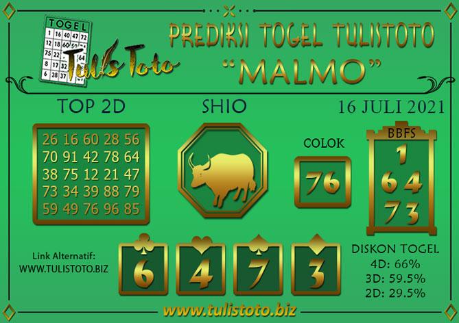 Prediksi Togel MALMO TULISTOTO 16 JULI 2021