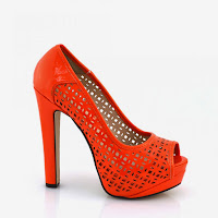 Pantofi femei orange cu toc inalt si perforatii ( )