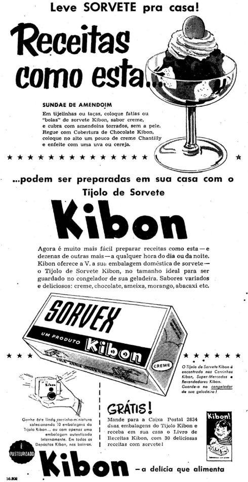 Propaganda antiga da Kibon promovendo o Sorvex em 1957