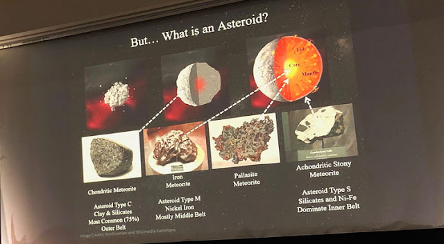 Tracy Drain talks of types and formation of asteroids at Distinctive Voices lecture  (Source: Palmia Observatory)