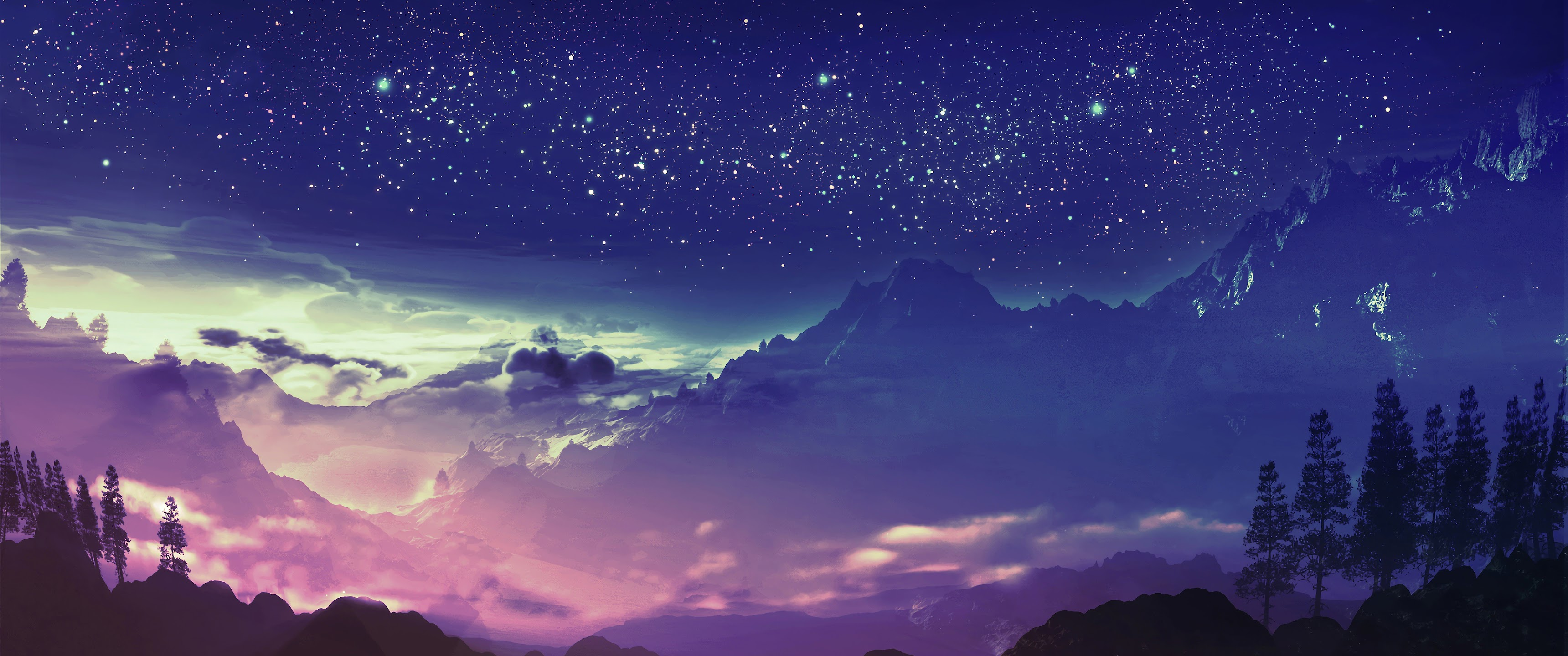 Mountain Night Scenery Stars Landscape Anime 4k Wallpaper 84