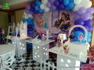 Decoração mesa de aniversário Barbie Pop star