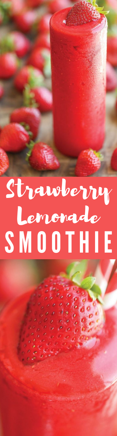 STRAWBERRY LEMONADE SMOOTHIE #smoothie #drink #cocktail #healthy #lemonade