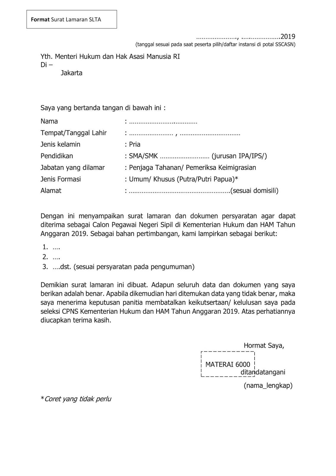 Contoh Format Surat Lamaran Kerja Cpns Kemenkumham 2019 Download Doc