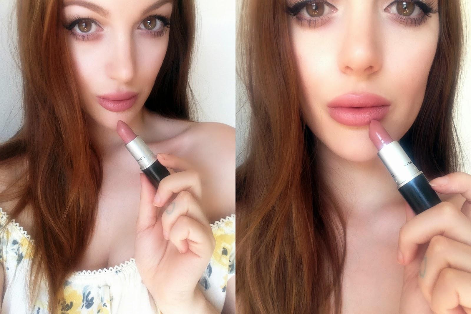 MAC Cremesheen Lipstick in Modesty Swatch Review Blog Rosy Cherrington Girl Culture