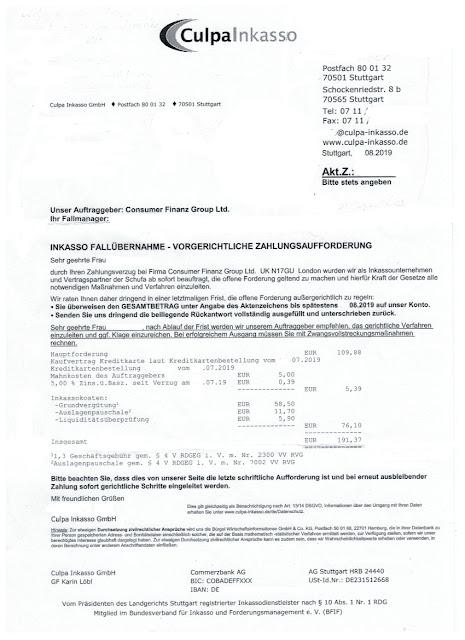 Scan: Zahlungsaufforderung Culpa Inkasso GmbH / Sep 2019