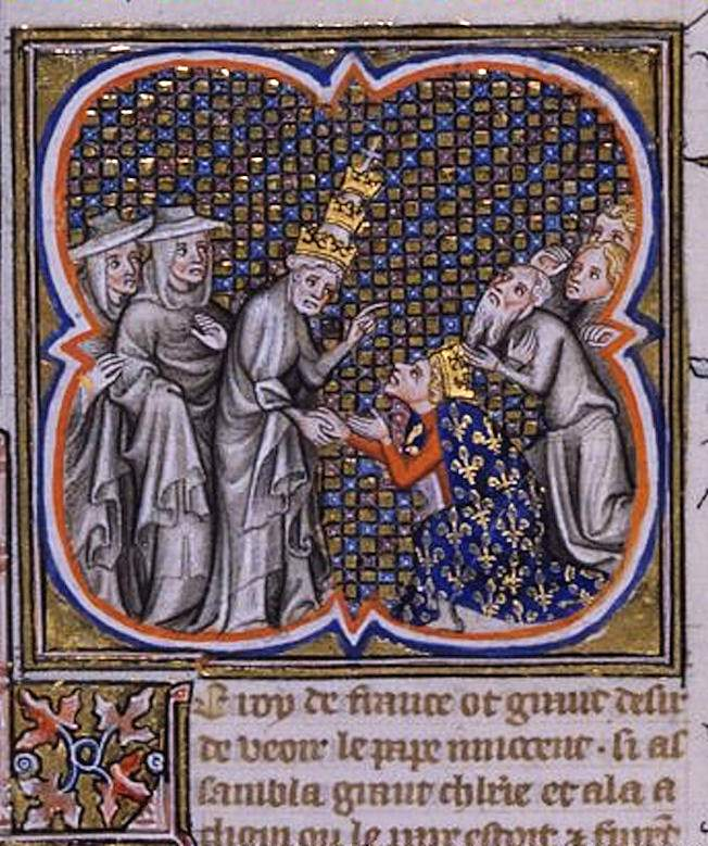 Ato de submissão de São Luis a Inocêncio IV em Cluny. Bibliothèque National de France.