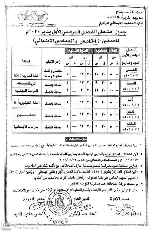 جدول امتحانات الصف الخامس الأبتدائي 2020 محافظة سوهاج
